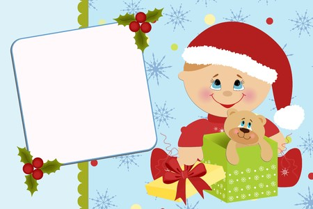 Blank template for babys greetings card or photo frame Illustration