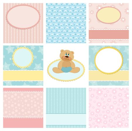 Collection of backgrounds for postcard, greetings card or scrapbook Stock Vector - 8181055