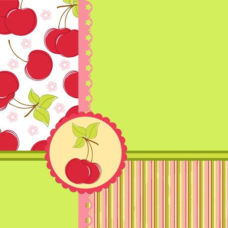 Blank template for greetings card, postcard or photo farme with cherry theme Vector