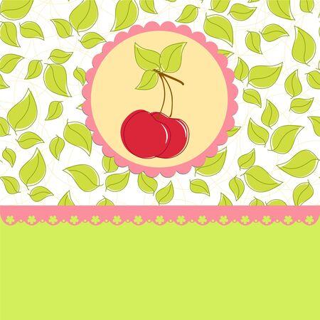 farme: Blank template for greetings card, postcard or photo farme with cherry theme
