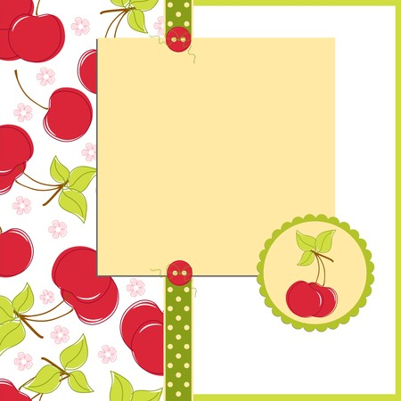 Blank template for greetings card, postcard or photo farme with cherry theme