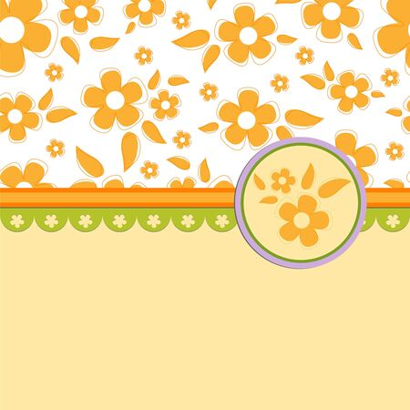 Blank template for orange greetings card, postcard or photo farme Vector