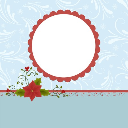Blank template for Christmas greetings card, postcard or photo farme Vector
