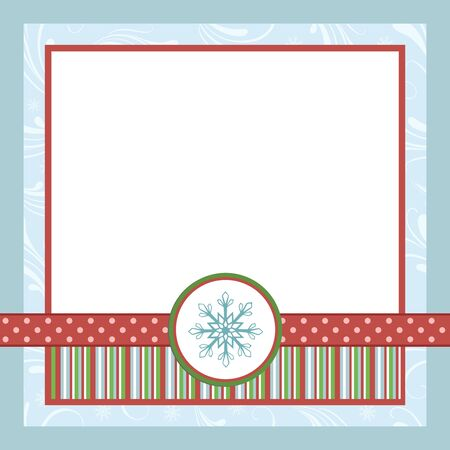 scrapbooking elements: Blank template for Christmas greetings card, postcard or photo farme Illustration