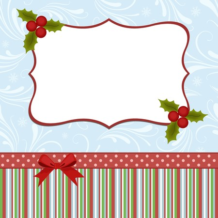 christmas holly: Blank template for Christmas greetings card, postcard or photo farme Illustration