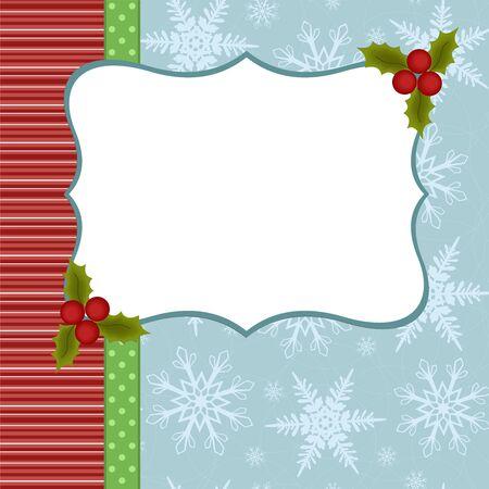 Blank template for Christmas greetings card, postcard or photo farme Vector