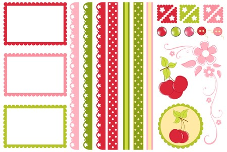 scrapbook element: Scrapbook elements. Collection of cherry decors Illustration
