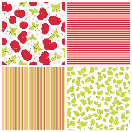 Scrapbook elements. Collection of summer seamless patterns