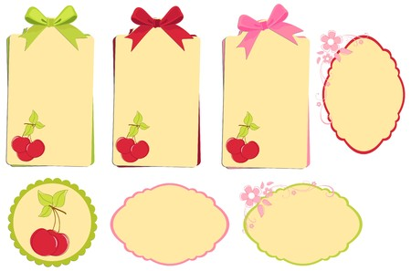 Scrapbook elements. Collection of cherry tags with bows Vector