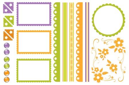 スクラップブッキング: スクラップ ブック要素。装飾のコレクション  イラスト・ベクター素材