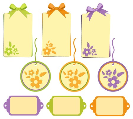 Scrapbook elements. Collection of tags with bows Vector