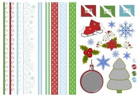 Scrapbook elements. Collection of christmas decors Vector