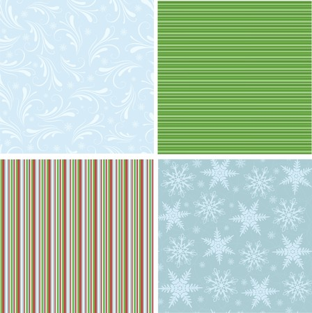 Scrapbook elements. Collection of christmas seamless patterns Vector