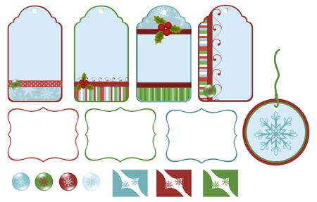Scrapbook elements. Collection of christmas tags Vector