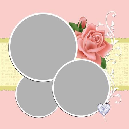 wedding photo frame: Cornice foto di nozze vuoto, cartolina o gretings card (EPS10)