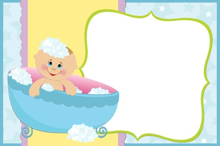 Blank template for babys greetings card or photo frame in blue colors Vector