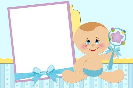 beanbag: Blank template for babys greetings card or photo frame in blue colors Illustration
