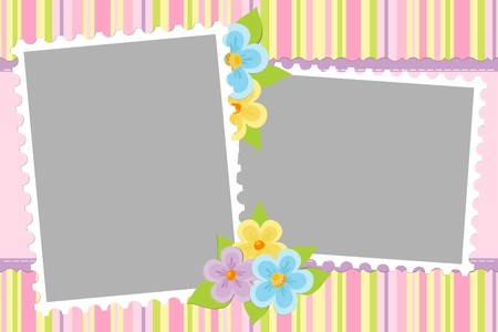 Blank template for baby's greetings card or photo frame in pink colors Stock Vector - 8181316