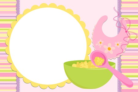 Blank template for babys greetings card or photo frame in pink colors Vector