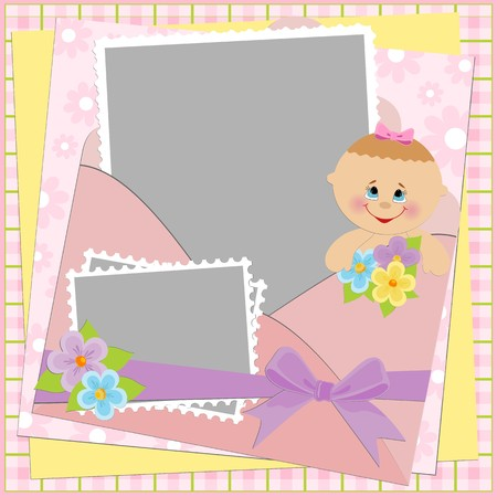 Template for baby's photo album or postcard Stock Vector - 8181468