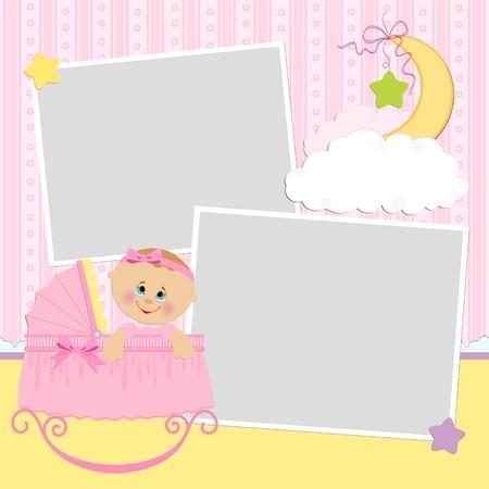 Modèle pour carte postale ou un album photo de bébé