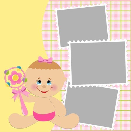 beanbag: Blank template for greetings card or photo frame in pink colors