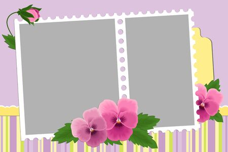 Blank template for photo frame or album with pansies Stock Vector - 8181526