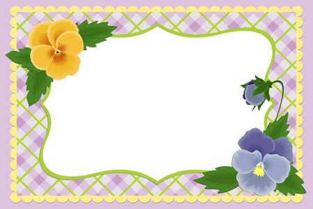 Blank template for photo frame or album with pansies Vector