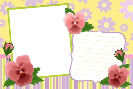 pansies: Blank template for photo frame or album with pansies (EPS10)