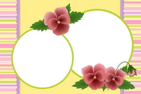 Blank template for photo frame or album with pansies (EPS10) Vector