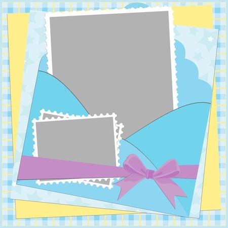 sobres para carta: Plantilla en blanco para marco de foto o tarjeta de saludos en colores azules