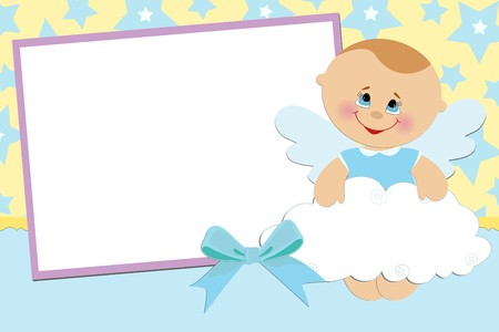 Blank template for greetings card or photo frame in blue colors Stock Vector - 8181127