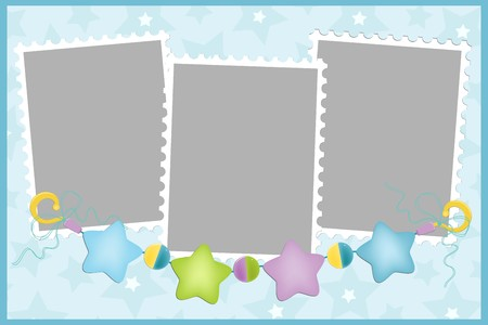 beanbag: Blank template for greetings card or photo frame in blue colors