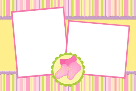 Template for babys photo album or postcard Vector