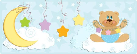 Babys banner or postcard with bear in blue colors Vector