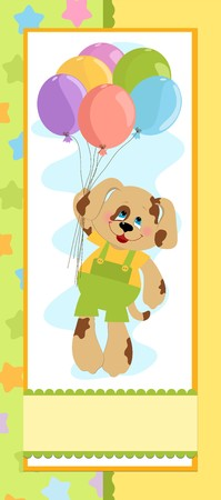 Babys banner or postcard with dog and balloons Vector