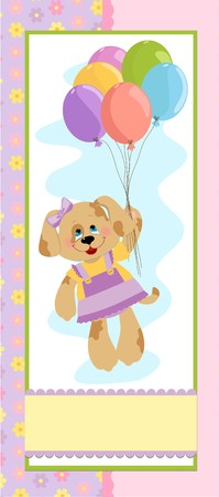 Babys banner or postcard with doggy and balloons Vector