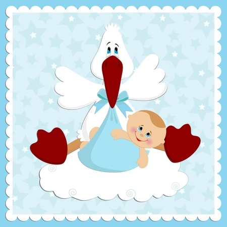 Baby greetings card  in blue colors Vector
