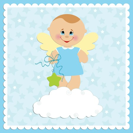 Baby greetings card with angel boy Illustration