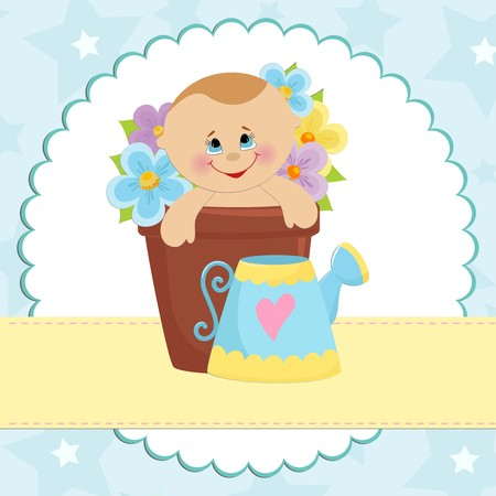 Baby greetings card with blue watering can Vector
