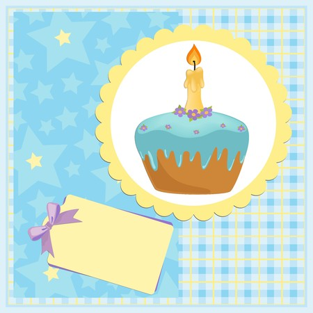 Babys greetings card for one year birthday Vector