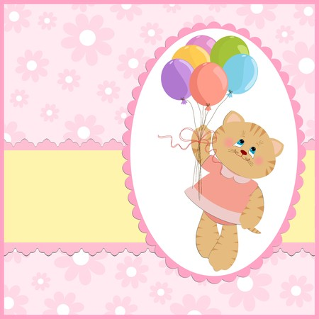 Babys greetings card with cat and flying balloons Vector