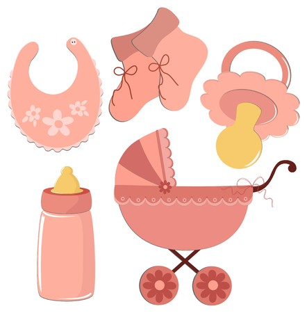 Set of elements for babys postcards or other designs Vector