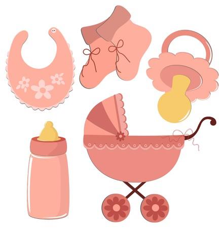 wedding feast: Set of elements for babys postcards or other designs Illustration