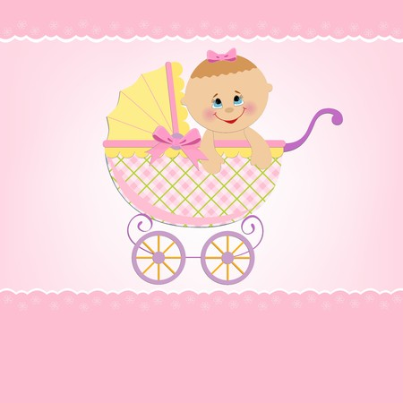 Baby greetings card with pink stroller Stock Vector - 8181467