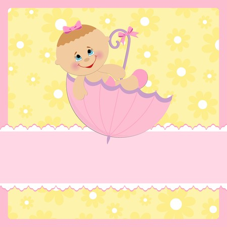 Baby greetings card with pink umbrella Illustration