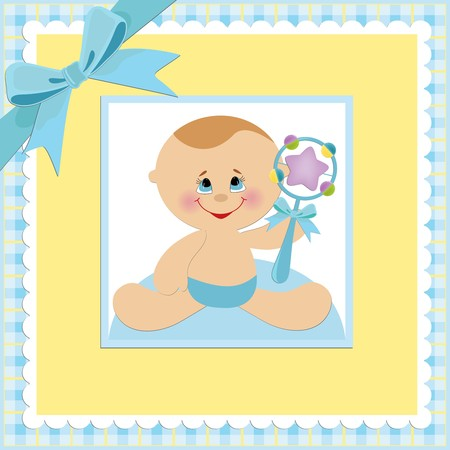 beanbag: Baby greetings card with blue beanbag