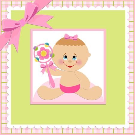 beanbag: Baby greetings card with pink beanbag
