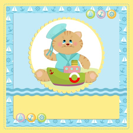 Babys postcard with sailor cat in blue colors Vector
