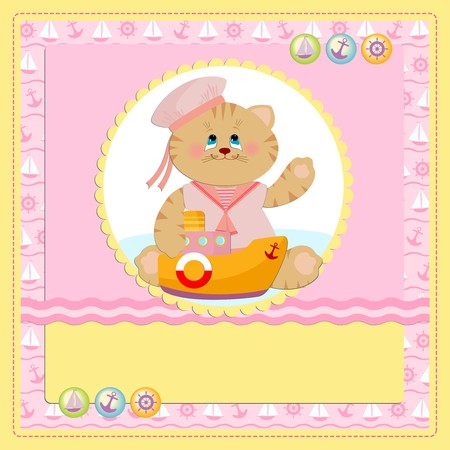 Babys postcard with sailor cat in pink colors Vector